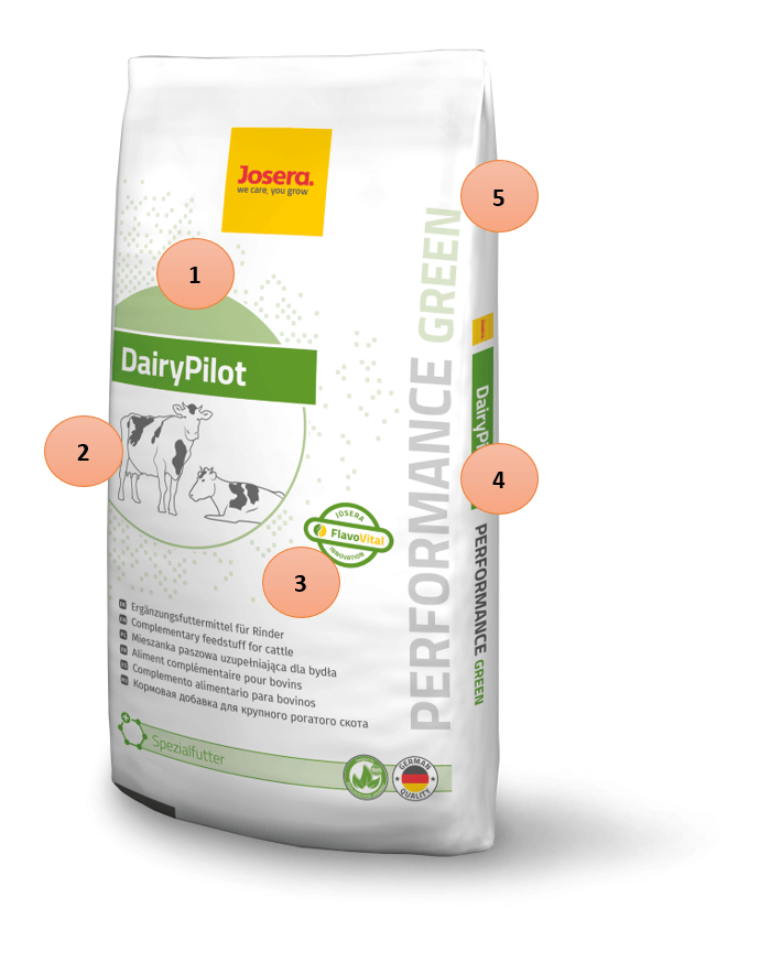 JOSERA packaging DairyPilot green, to explain the new range system