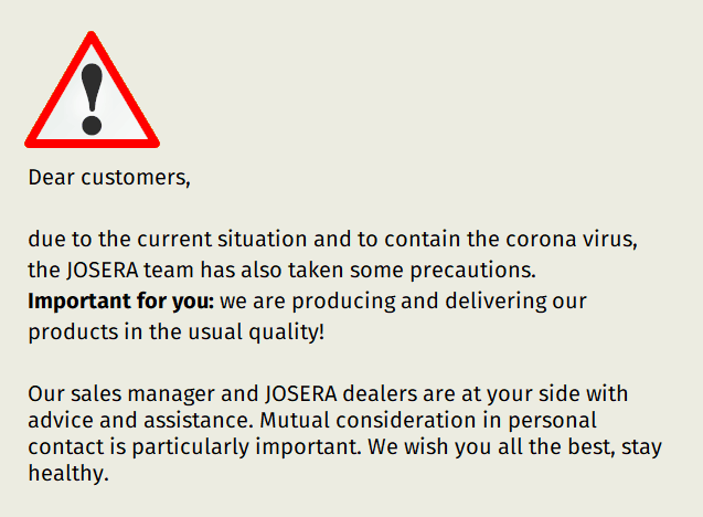 JOSERA Corona information