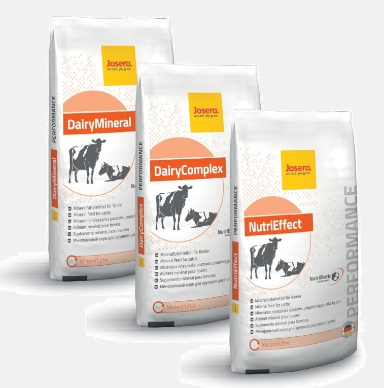 JOSERA bags of DairyMineral, DairyComplex and NutriEffect